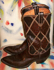 Tony Lama Brown Buffalo-&-Cowhide Leather Western Cowboy Boots 9M $250