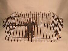 Elastolin painted metal zoo fencing enclosure, 4 pieces, original price tags (A)