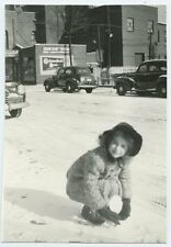 Griesedieck Beer Sign Hiding in the Background - Girl in Snow - American Culture