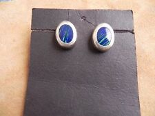 Lapis Malachite Sterling Silver Earrings .925 Taxco Mexico