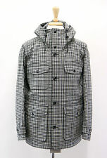 NWT Tom Ford Men's 100% Wool Checkered Hooded Logo Engraved Jacket Coat 48/38US