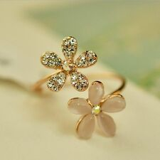 Lady Women's New Rhinestone Crystal Hot Flower Adjustable Daisy Ring Jewelry