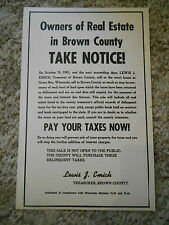 Old Vintage 1964 1965 Owners Real Estate Brown County Pay Taxes Green Bay Notice