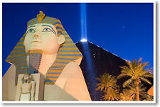 Luxor Hotel at Night - Las Vegas Nevada Pyramid Sphinx Travel -  NEW POSTER