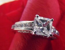 2.00ct Princess Cut Man Made Diamond Engagement Ring Solid 14k White Gold