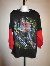 New Marvel The Amazing Spiderman Kids Small S (6-7) Black Shirt w/ Red Sleeves