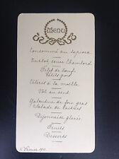 Ancien menu 1911 avec décor gaufré