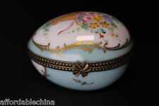 Limoges Hand Painted Chamart Egg Shaped Porcelain Box