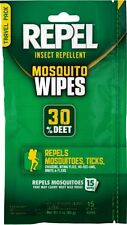 Repel Insect Repellent Mosquito Wipe Tick Flies  Bugs 30% Deet 15 count (94100)