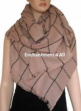 New Large Handmade Winter Fashion Scarf Shawl Wrap w/ Plaids, Ivory