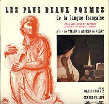 """MARIA CASARES, GERARD PHILIPE """"POEMES DE LA LANGUE FRANCAISE"""" LP FESTIVAL 166"""