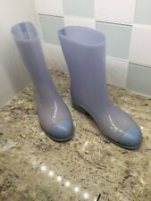 "CHANEL SIZE 37 US 7 SNOW RAIN BOOTS RAINBOOTS  LIGHT BLUE 9"" tall MADE IN ITALY"