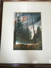 Edouard Mathys Certified Original Watercolor Framed With Small Biography