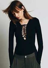 NWT XS / Small Free People Intimately Black Lace Up Layering Top Sexy Hot Hippy