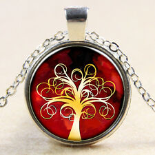 Vintage Tree of Life Cabochon Silver plated Glass Chain Pendant Necklace MS16