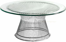 MID-CENTURY MODERN PLATNER STAINLESS STEEL SPOKE WIRE GLASS COFFEE TABLE
