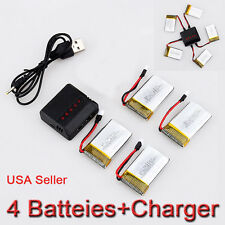 4PCS 3.7V 650mAh Lipo Battery+ 5 in1 Charger For Syma X5C-1 X5SC X5SW Helicopter