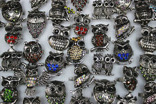 wholesale mixed Lots 45pcs owl colorful rhinestone alloy adjustable lady's rings