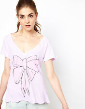 WILDFOX COUTURE MILKMAID BOW LILAC TEE TOP M 12 8 40!