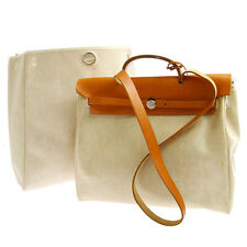 Authentic HERMES Her Bag MM 2 in 1 2way Hand Bag Beige Toile H Leather V08828