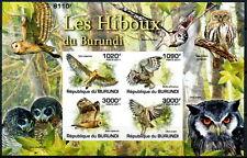 BURUNDI MNH Imperf SS, Marsh Owl, Eurasian scops, African grass, Spotted eagle