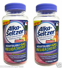 2 PACK Alka-Seltzer Heartburn Gas Relief Chewable Tablets 32ct 016500557968