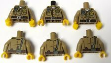 Lego 6 Tan Torso Body For Minifigures Soldier Ranger Police Officer Girl Boy