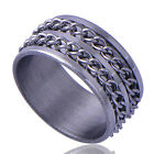 New Mens Silver plated Stainless Steel link Band Ring Size 9#