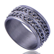 2015 New Men's White GF Stainless Steel link Zirconia Stone Band Ring Size 9
