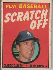 1970 Topps Baseball Scratch Off Game Card - Claude Osteen - Ex-