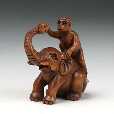 "1940's Japanese handmade Boxwood Netsuke ""Monkey On Elephant"" Figurine Carving"