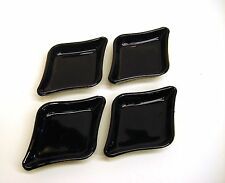 KW-3 SET OF 4 TIARA BLACK SANDWICH GLASS DIAMOND DISHES
