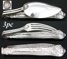 RARE Antique French Sterling Silver 3pc Traveller's Flatware: Fork, Spoon, Knife