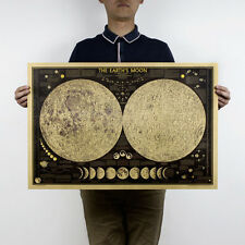Vintage Style Retro Moon Map Lunar Poster Map Kraft Paper Art Posters 28x18inch