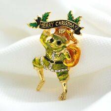 Lovely Frog Unsex women Brooch Pin Rhinestones Merry Christmas Xmas Party Gifts