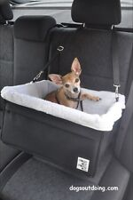 Large Black Dog Car Booster Seat (White Lining) - Dogs Out Doing *