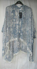 LADIES MARKS AND SPENCER BLUE FLORAL AND BUTTERFLY COVER UP BEACHWEAR ONE SIZE