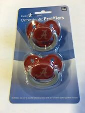 Alabama Crimson Tide GLOW IN THE DARK Baby Infant Pacifiers 2 Pack Shower Gift