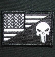 PUNISHER SKULL USA AMERICAN FLAG ARMY MORALE TACTICAL BLACK OPS VELCRO PATCH