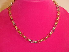 14K TRI COLOR GOLD POLISHED ROLO LINK NECKLACE CHAIN NEW 20 INCH 14.3 GRAMS NEW