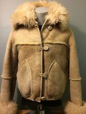Vintage Overland Sheepskin Shearling Coat Leather Jacket Womens 12 Ranch Wool