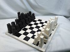 Vintage 1970s Aztec Style Hand Carved Black and White Marble Chess Set - Mexico