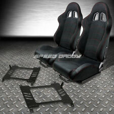 2 X BLACK SUEDE RECLINABLE RACING SEATS+BRACKET FOR 03-08 NISSAN 350Z Z33 VQ35 Z
