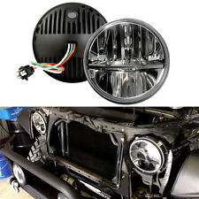 "Pair 7"" Inch Round LED Headlights Lamp High/Low Beam for Jeep Wrangler 97-16"