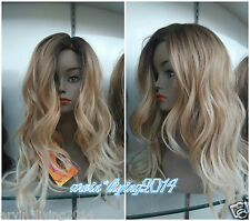 Ladies Front lace Wigs Curly Long Wavy hair brown Golden Blonde mixed full wig