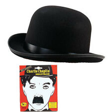 Charlie Chaplin Negro Bombines & Moustach Fancy Dress