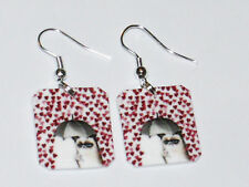 Grumpy Cat Valentines Day Earrings HANDMADE PLASTIC CHARMS
