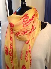 Authentic McQueen Silk Skull Print Scarf. Yellow & Fuschia. Mint Condition.