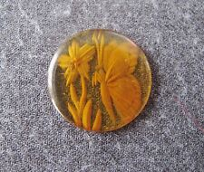 ANTIQUE REVERSE CARVED BUTTERFLY & FLOWERS APPLEJUICE BAKELITE APPLIQUE