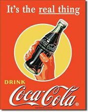 COKE Coca Cola Real Thing - Bottle Metal Tin Sign Wall Art